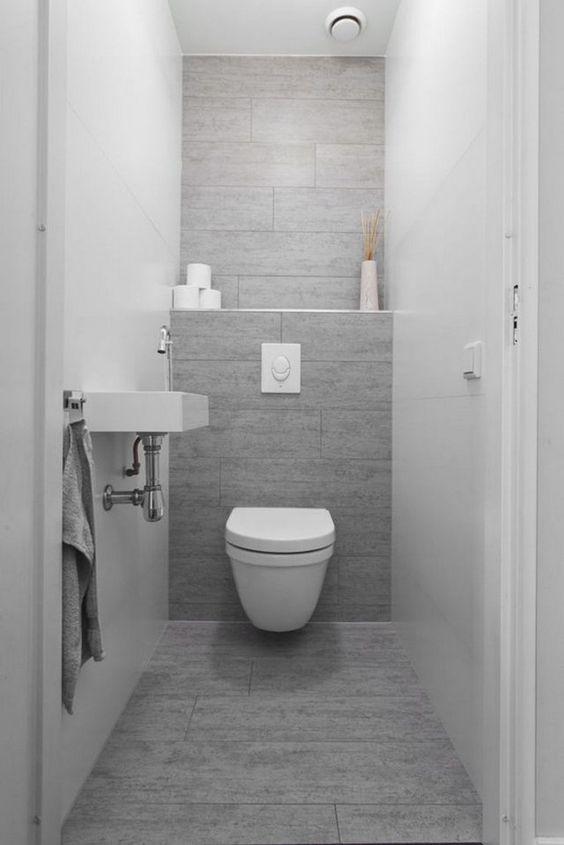 moderne toilet ideeen met een witte hangende toilet