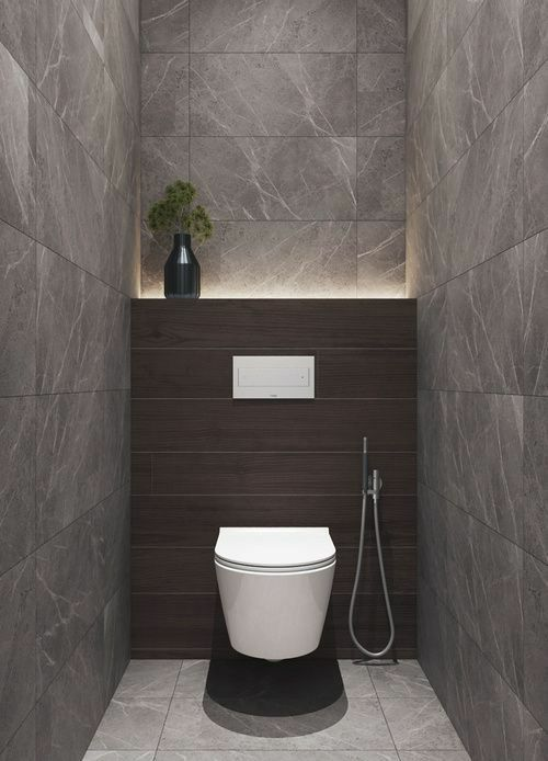 grijze modern en strak toilet met zwevende pot